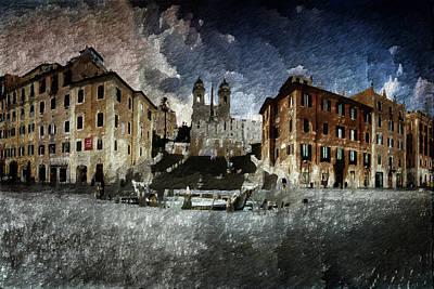 Art Print featuring the digital art Piazza Di Spagna by Andrea Barbieri
