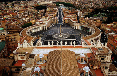 Piazza San Pietro From St Peter Cathedral's Dome, Rome, Italy Art Print by Witold Skrypczak