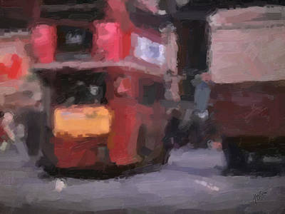 Briex Painting - Picadilly Circus Busy Traffic 1967 by Nop Briex