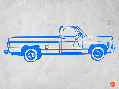 Midcentury Modern Digital Art - Pick Up Truck by Naxart Studio