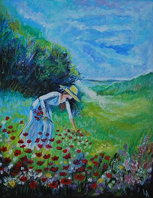 Painting - Picking Flowers by Leslie Allen