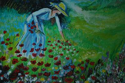 Painting - Picking Flowers Series 1 by Leslie Allen