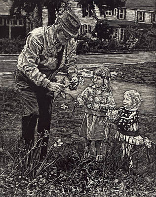 Drawing - Picking Flowers With Grandpa by Robert Goudreau