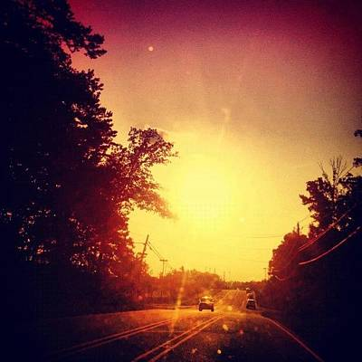 Edit Photograph - Picking Up Dinner #driving #sunset #sun by Katie Williams