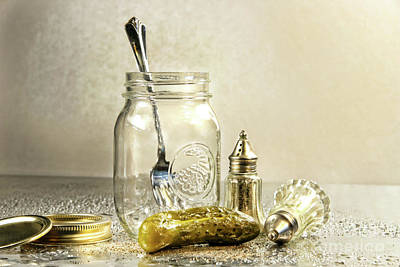 Pickle Photograph - Pickle With A Jar And Antique Salt And Pepper Shakers by Sandra Cunningham