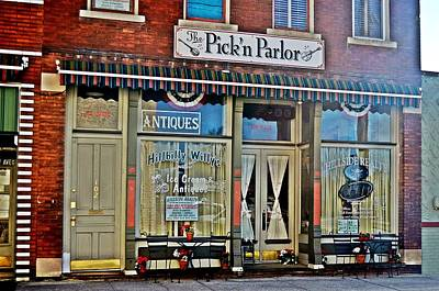 Store Fronts Mixed Media - Pick'n Parlor by Laurie Winn Adams