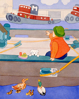 Dog Play Sea Painting - Picnic At The Pier by Irene Hipps
