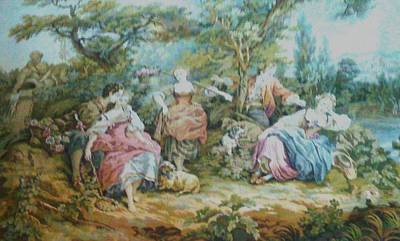 Picnic In France Tapestry Art Print by Unique Consignment