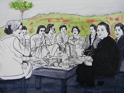 Lebanon Art Drawing - Picnic In The Mountains by Marwan George Khoury