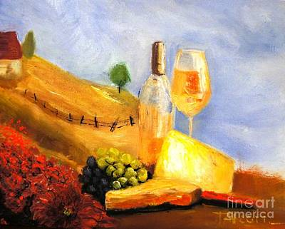 Picnic In The Vineyard Print by Therese Alcorn