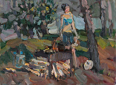 Painting - Picnic In The Woods by Juliya Zhukova