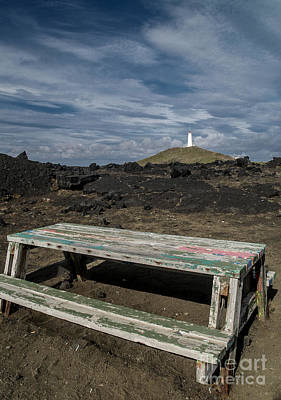 Photograph - Picnic Table By The Lighthouse by Michael Canning
