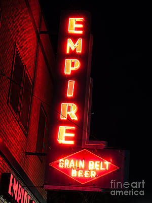 Beer Royalty-Free and Rights-Managed Images - Picture of Empire Tavern and Liquors Sign Fargo ND by Paul Velgos