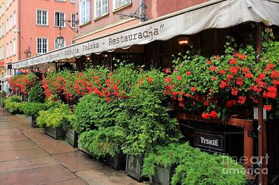 picturesque restaurant terrace in Gdansk Poland Art Print by Sophie Vigneault
