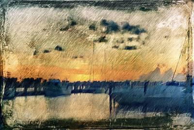 Pier At Sunset Print by Andrea Barbieri