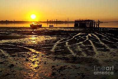 Wooden Platform Photograph - Pier At Sunset by Carlos Caetano