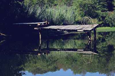 Pier At The Pond Art Print by Lindy Spencer