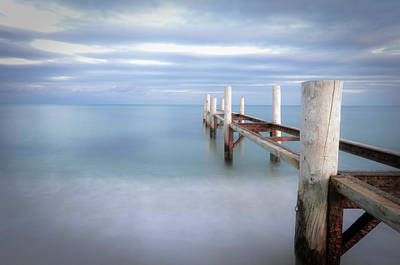 Clouds Over Sea Photograph - Pier In Pampelonne Beach by Dhmig Photography