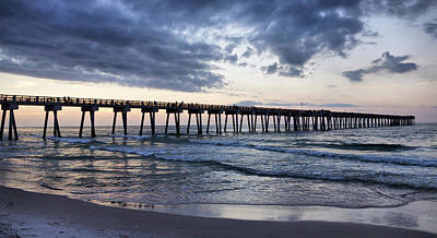 Pier In The Evening Print by Sandy Keeton