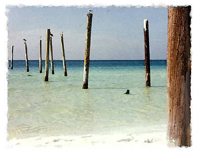 Pier Pilings Destin Fla Art Print by Brenda Leedy
