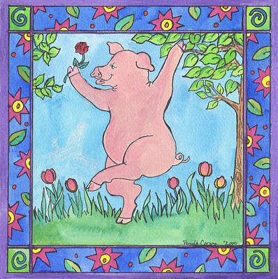 Painting - Pig Dance by Pamela  Corwin