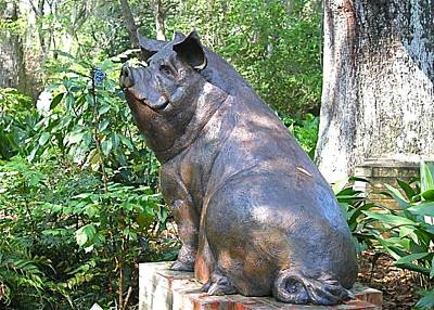 Photograph - Pig Smelling Flower Sculpture by Jeanne Kay Juhos