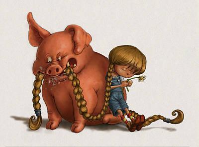 Pig Tales Chomp Art Print