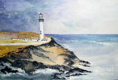 Painting - Pigeon Point Lighthouse - California by Sibby S