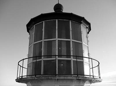 Photograph - Pigeon Point Lighthouse Beacon - Black And White by Carol Groenen