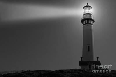 Pigeon Point Lighthouse In Black And White Print by Paul Topp