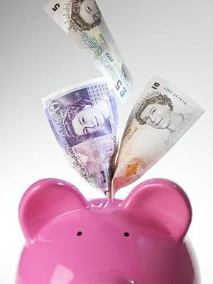 Sterling Photograph - Piggy Bank And British Pounds by Tek Image