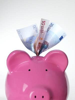 Piggy Bank And Euros Art Print by Tek Image