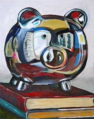 Piggy On Books Original by Amy Higgins
