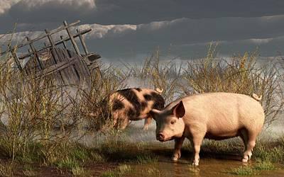 Rural Scenes Digital Art - Pigs After A Storm by Daniel Eskridge