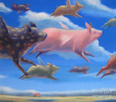 Flying Pig Painting - Pigs Can Fly by Raed Al-Rawi