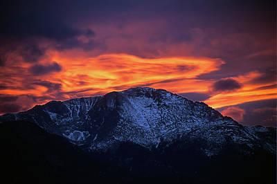 Photograph - Pikes Peak Firery Sunset by John Brink