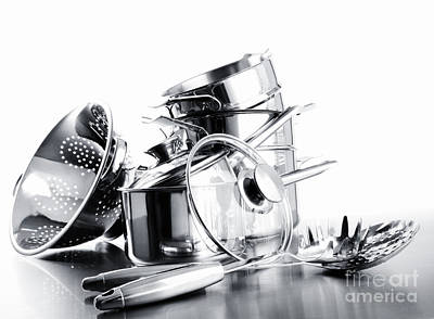 Photograph - Pile Of Pots And Pans Against  White by Sandra Cunningham