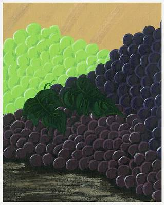 Glass Of Wine Painting - Pile Of Wine Grapes by Starla Rodriguez