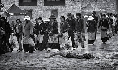 Tibetan Buddhism Photograph - Pilgrim Prostration by Joan Carroll