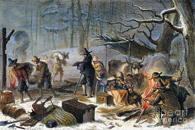 Photograph - Pilgrims: First Winter, 1620 by Granger