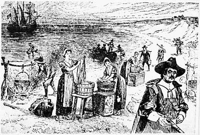 Mayflower Beach Photograph - Pilgrims: Washing Day by Granger
