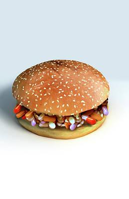 Biomedical Illustration Digital Art - Pill Burger by MedicalRF.com