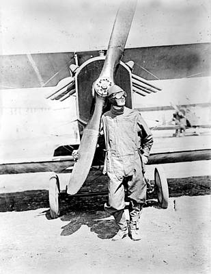 Pilot Standing In Front Of U.s. Army Art Print by Everett