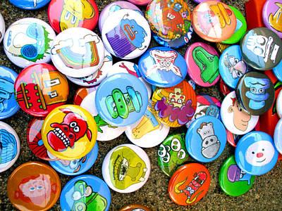 Puppy Digital Art - Pinback Buttons by Jera Sky
