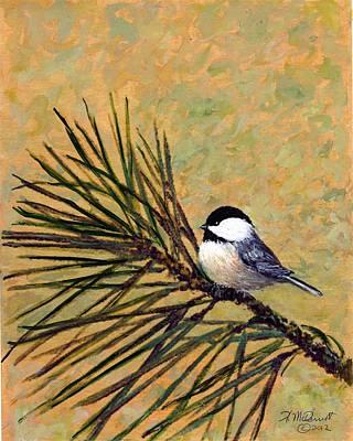 Art Print featuring the painting Pine Branch Chickadee Bird 2 by Kathleen McDermott