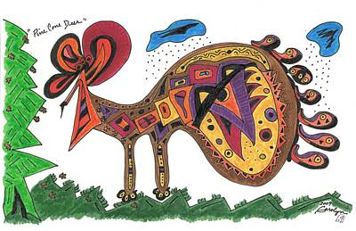 Pine Cones Drawing - Pine Cone Deer by Carolyn L Schaefer