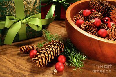 Pine Cones And Christmas Balls  Art Print by Sandra Cunningham