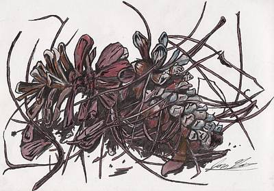 Pine Needles Mixed Media - Pine Cones On Table by Jon Gore