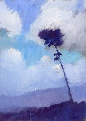Fading Painting - Pine Tree Against The Morning Sky by Alan Daysh