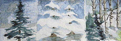 Snow Drifts Painting - Pine Tree Trilogy by Mindy Newman